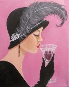 """A LADY SIPPING WINE"" by Dian Bernardo | Redbubble"