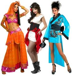 International Costumes with High Low Hems