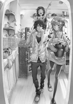 Kirito, Asuna and Yui, from Sword Art Online.