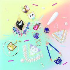 #ハンドメイド #ファッション #てづくりアクセサリー #猫 #ねこ部  #にゃんすたぐらむ #カラフル #ファンシー #ピアス #イヤリング #アクセサリー #デリカビーズ #ビジュー #ビジューピアス #ファンシー #フリンジ #お洒落さんと繋がりたい #手作り #販売中 #ネコ #レトロ #handmade #beads #雑貨 #大人可愛い