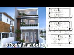 5 Bedrooms Modern Home Plan This villa is modeling by SAM-ARCHITECT With 3 stories level. It's has 5 bedrooms. Small Modern House Plans, Narrow House Plans, Duplex House Plans, Bedroom House Plans, Small House Design, Tiny House Plans, Modern House Design, House Floor Plans, Architectural House Plans