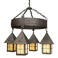 Steel Partners Lapaz 4 Light Round Shaded Chandelier Finish: Rust, Shade / Lens: Bungalow Green
