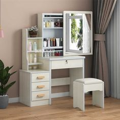 Simple Modern Dresser Household Bedroom Dressing Table Density Board Makeup T able With Mirror Drawer Lock Stool Home Room Design, Bed Design, Design Art, Design Ideas, Interior Design, Bedroom Furniture Design, Home Furniture, Deco Furniture, Amish Furniture