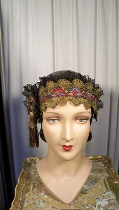 Awesome Sweet Antique Flapper Wedding Dance Shoes Metallic Gold Costume Display Theatre