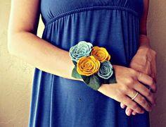 felt rose wrist corsage. $25.00, via Etsy. handmadecolectibles