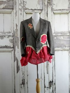 Tweed PInk and Yellow Suit Jacket Appliqued by CuriousOrangeCat
