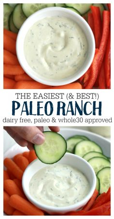 The BEST Paleo Ranch Dressing (Dairy Free!) - - The BEST Paleo Ranch Dressing (Dairy Free!) Whole 30 This is the easiest (and BEST) Ranch. It's paleo, dairy free, and good on everything. Paleo Menu, Paleo Dairy, Paleo Dinner, Paleo Meal Plan, Whole Foods, Paleo Whole 30, Dieta Paleo, Molho Ranch, Healthy Recipes