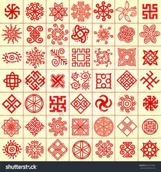 Symbols ~ Ethnic geometric signs set. Set of icons with Slavic pagan symbols for your design. Vector illustration #262167860