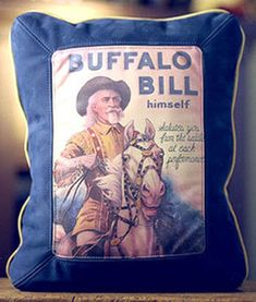 Buffalo Bill Himself Leather Pillow Western Bedding Sets, Rustic Bedding, Rustic Pillows, Cowboy Accessories, Black Forest Decor, Extreme Makeover, Western Furniture, Leather Pillow, Western Homes