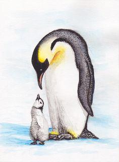 Animal Sketches, Animal Drawings, Cute Drawings, Art Sketches, Penguin Watercolor, Watercolor Animals, Watercolor Paintings, Pinguin Drawing, Penguin Art