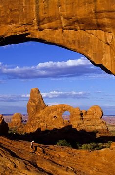 ARCHES N'TL PARK, UTAH, USA ~ Window Rock and Turret arch at sunrise.