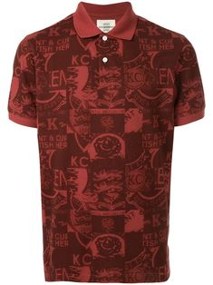 Red cotton printed polo shirt from KENT & CURWEN featuring a classic polo collar, a front button placket, short sleeves and a straight hem. Printed Polo Shirts, Long Sleeve Tee Shirts, New Sign, Apparel Design, Mens Tees, Size Clothing, Women Wear, Men Casual, Mens Fashion