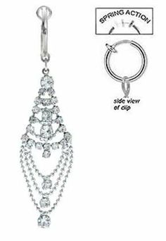 Fake Belly Navel Non Clip on Clear cz Long Chandelier Tear dangle Ring . $10.00