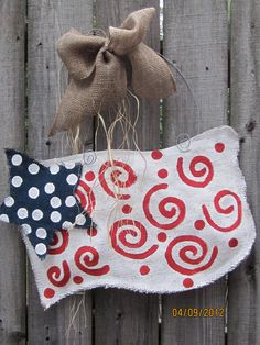 Burlap USA Flag Red, White and Blue Burlap Door Hangers American Flag by nursejeanneg on Etsy https://www.etsy.com/listing/97280736/burlap-usa-flag-red-white-and-blue