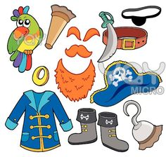 Royalty-Free (RF) Clipart Illustration of a Digital Collage Of Pirate Items - 3 by visekart Pirate Decor, Pirate Theme, Jack Le Pirate, Pirate Images, The Pirates, Turkey Disguise, Felt Quiet Books, Free Cartoons, Pirate Birthday