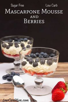 For a quick low carb dessert try keto mascarpone cream mousse. It's made in under a minute using only three ingredients! Perfect served with berries! Keto Desserts, 4th Of July Desserts, Healthy Dessert Recipes, Low Carb Recipes, Quick Recipes, Cheese Recipes, Fall Recipes, Dinner Recipes, Keto Foods