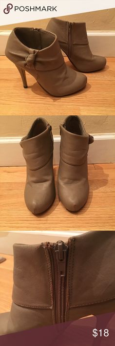 """Nude Forever 21 booties Has some wear shown in photos but still look so adorable and is not noticeable when wearing. Heel height is 4.5"""". I've had the original heel replaced with something sturdier. These look great with a pair of jeans for going out! Reasonable offers welcome! Forever 21 Shoes Ankle Boots & Booties"""