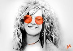 Janis Joplin Tinta china y Pintura UV Fluorescencia Round Sunglasses, Sunglasses Women, Tinta China, Janis Joplin, Fashion, Portraits, Moda, Fasion, Trendy Fashion