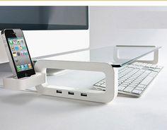 Sleek Desk Organizer/Tempered Glass Monitor Stand/Office/iPhone 4 4s 5 iPod iMac