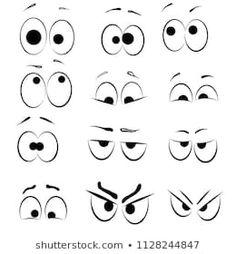 Set of Cartoon Eye faces. Different cartoon expression Cartoon Eyes Drawing, Cute Eyes Drawing, Cartoon Expression, Art Drawings For Kids, Drawing For Kids, Easy Drawings, Animal Drawings, Cartoon Mouths, Cartoon Faces