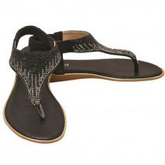 2aa68eb483a Lucita Adult Black Sparkle Rhinestone Adorned Flip Flop Sandals 5.5-10  Womens Black Sparkle