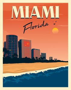 Vintage and Art-Deco style travel posters. Art Deco Posters, Room Posters, Poster Wall, Poster Prints, Bedroom Wall Collage, Photo Wall Collage, Picture Wall, Florida Travel, Miami Florida