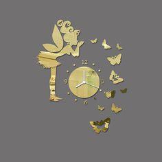 Modern Butterfly Fairy Clock DIY Art Mirror Wall Sticker Kids Room Home Decor Hot Selling from Alyomar Kids Room Wall Stickers, Mirror Wall Stickers, Wall Decals, Diy Butterfly Decorations, Diy Clock, Clock Wall, 3d Art, Diy 3d, Butterfly Fairy