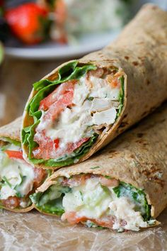 Avocado Ranch Chicken Salad Wrap - Spend With Pennies-This easy Avocado Ranch Chicken Salad is loaded with flavor (contains no mayonnaise) for a deliciously lighter version for a low cal lunch or light dinner! Good Healthy Recipes, Healthy Foods To Eat, Healthy Snacks, Healthy Lunch Wraps, Healthy Menu, Diet Foods, Healthy Life, Healthy Eating, Low Cal Lunch