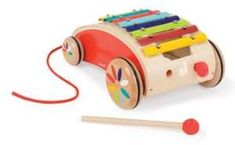 """Your little protege will make beautiful music with this pull-along concert, made up of an eight-keyed metal xylophone, four wheels, a pull string and one mallet.8""""H X 5""""W X 11""""L.Wood and metal. Wipe clean. Recommended for ages 18 months and up. Imported."""