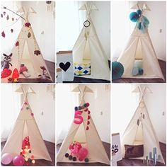 LoveTree Portable Kids Cotton Canvas Teepee Indina Play Tent Playhouse - Class White One Window Style
