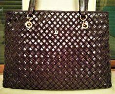 96785757467 BALLY sac à main cuir agneau daim tressé brun luxe leather handbag vintage  NEUF