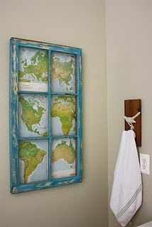 Old maps and rustic window frame...i got an old leaded glass kitchen cabinet door from our last house...I totally want to do this to it! Will a trunk and wall art be too much map in one room?