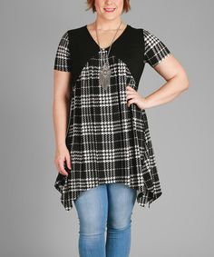 Look at this #zulilyfind! Simply Aster Black & White Plaid Sidetail Tunic - Plus by Simply Aster #zulilyfinds