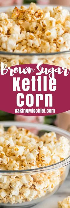 Recipes Snacks Salty Brown Sugar Kettle Corn is kettle corn's slightly more fun and mature sibling. Salty, sweet, and just a bit caramelly, it's perfect for movie night or an afternoon snack. Healthy Movie Snacks, Healthy Afternoon Snacks, Healthy Treats, Popcorn Recipes, Snack Recipes, Dessert Recipes, Homemade Kettle Corn, Kettle Corn Recipe Brown Sugar, Kettle Corn Recipes