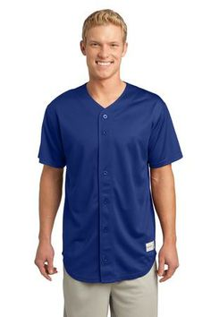 Sport-Tek® - PosiCharge Tough Mesh™ Full-Button Jersey. With buttons placed for ease of embellishment, this classic jersey scores with its durable (yet soft and smooth) PosiCharge Tough Mesh. - Arizona Cap Company - (480) 661-0540 Custom Printed & Embroidered. Visit our website for the colors available and the price.