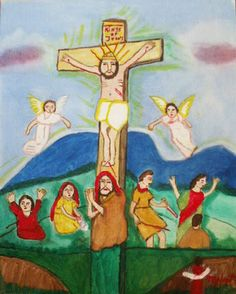 Christ on the Cross. Artist: Mytice West (1923-2010). Acrylic on canvas board