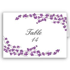 Purple Blossom Table Seating Cards...
