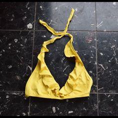 Yellow Ralph Lauren Bikini Top Yellow, ruffled Ralph Lauren bikini top. Super cute and in great condition! Tie neck and adjustable bottom strap Ralph Lauren Swim Bikinis