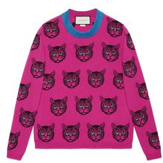 Gucci Mystic Cat Wool Cashmere Knit Sweater ($1,900) ❤ liked on Polyvore featuring tops, sweaters, cashmere, ready-to-wear, women, wool crew neck sweaters, vintage sweaters, vintage wool sweaters, pink crew neck sweater and vintage crew neck sweaters