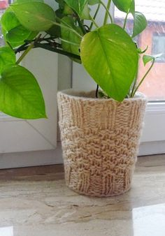 Plant Pot Cozy Knit Plant Cover Beige Plant Pot by IskaCreations