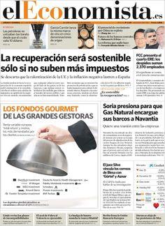 Los Titulares y Portadas de Noticias Destacadas Españolas del 16 de Noviembre de 2013 del Diario El Economista ¿Que le pareció esta Portada de este Diario Español?