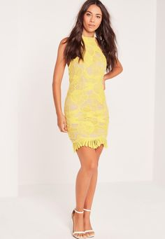 Missguided - Lace High Neck Bodycon Dress Yellow