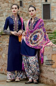 Shonaya Blue Embroidered Pure Cotton Satin Semi Stitched Salwar Suit @ 2479/-