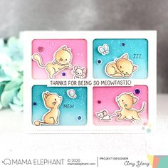 Handcrafted Cards Made With Love: ME STAMP HIGHLIGHT - MY PET KITTIES Copic Sketch, Mama Elephant, Instagram Widget, Distress Oxides, Friendship Cards, Cat Cards, My Face Book, Copics, My Stamp