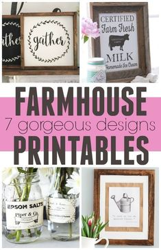 Free Farmhouse Printables that are perfectly on trend! These gorgeous prints are perfect for framing and putting up on your wall and bonus they are all FREE to print. Get that Fixer Upper style on a budget. Handmade Home Decor, Diy Home Decor, Wall Decor Design, Country Farmhouse Decor, Farmhouse Style, Country Kitchen, Country Style, Farmhouse Signs, Sweet Home