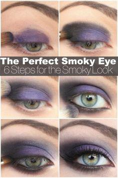 Top 10 Makeup Tutorials For Seductive Eyes Purple smokey eye makeup eyeshadow color smoky beauty - Das schönste Make-up Purple Smokey Eye, Purple Eye Makeup, Makeup For Green Eyes, Black Smokey, Purple Eyeshadow, Smoky Eyeshadow, Black Makeup, Gorgeous Makeup, Love Makeup
