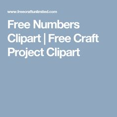 Free Numbers Clipart | Free Craft Project Clipart