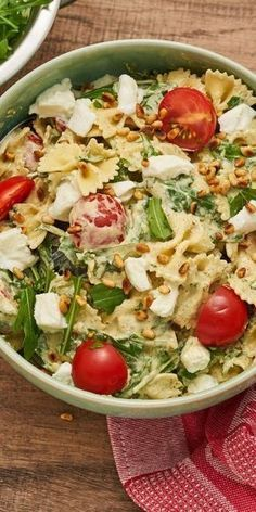 """Nudelsalat """"Rucola""""Our Pasta Salad """"Rucola"""" is your perfect companion to the next barbecue party and any other event. You will hardly be able to save yourself from compliments, it is so delicious! Tomatoes, mozzarella and basil pesto ensure the perf Easy Snacks, Easy Healthy Recipes, Healthy Snacks, Vegetarian Recipes, Easy Meals, Snacks Recipes, Grill Party, Pasta Salad Recipes, Food Inspiration"""