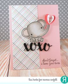 Card by Lisa Henke. Reverse Confetti stamp set: Coffee and You. Confetti Cuts: Coffee and You and XOXO Hearts. RC 6x6 paper pad: True Love. Valentine's Day card. Encouragement card. Anniversary card.
