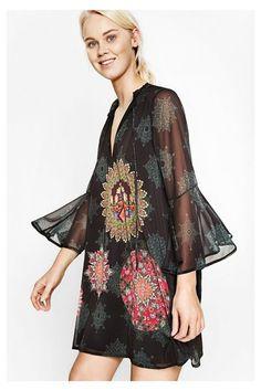 WOMAN WOVEN LONG SLEEVE DRESS #fashion #moda #circulogpr #primavera #guapa #happy #love #iloveyou #smilling #style #fashioninspiration #beautiful #desigual